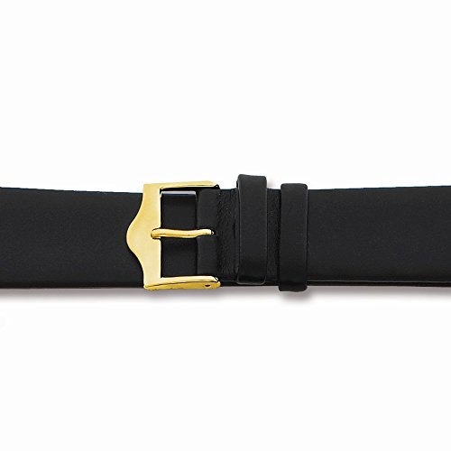Top 10 Jewelry Gift 19Mm Long Flat Black Leather Gold-Tone Buckle Watch Band