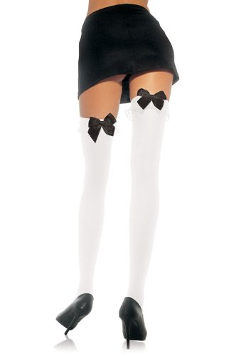 Plus Size Nylon Stocking With Bow And Lace Ruffle