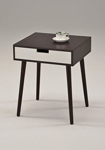Aeropostale SR-1480 Espresso/Side End Table Nighstand with Drawer, White (Side Table Espresso Curved Legs compare prices)