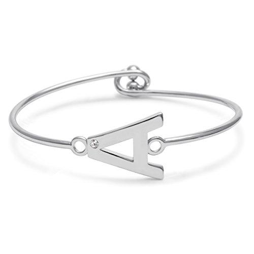 Initial Bangle Bracelet Personalized Bracelet With Cubic Zirconia, Letters A-Z, Silver Tone