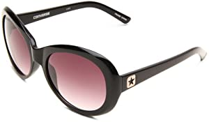 Converse Backstage Women's Record Deal Oval Sunglasses,Black Frame/Grey Lens,One Size