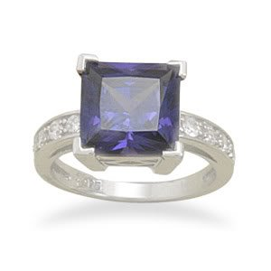Sterling Silver Rhodium Plated Square Synthetic Tanzanite and CZ Ring / Size 9