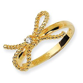 Genuine IceCarats Designer Jewelry Gift Gold-Plated Sterling Silver Fancy Bow Cz Ring Size 6.00