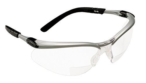 3M Reader +2.5 Diopter Safety Glasses, Silver/Black Frame, Clear Lens