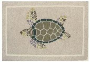 Door Mat Outdoor Rug Kitchen Rug Nautical Decor Doormat Hooked Rug Look 2  Ft. X 3 Ft. Turtle