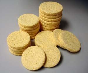 Natural Beige Cleansing Facial Sponges - 12 Pack