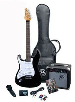 RST BK LH Full Size Left Handed Black Electric Guitar Package w/ Guitar, Amp, Strap and Instructional DVD