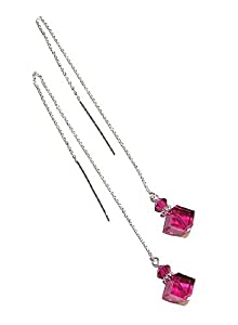 Sterling Silver Pull Through Earrings w/ Swarovski Cubes - Fushia