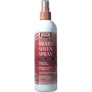 AFRICAN PRIDE Braid Sheen Spray Extra Shine Conditioning & Moisturizing, Excellent for Natural & Synthetic Hair, Soothes Itching & Dryness & Maximum Hold for Lond Lasting Braids 12oz/355ml