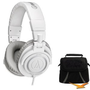 Audio-Technica ATH-M50 Professional Studio headphones ( earphone ) w / Coiled Cable (Ice White) Deluxe Bundle [parallel import goods]