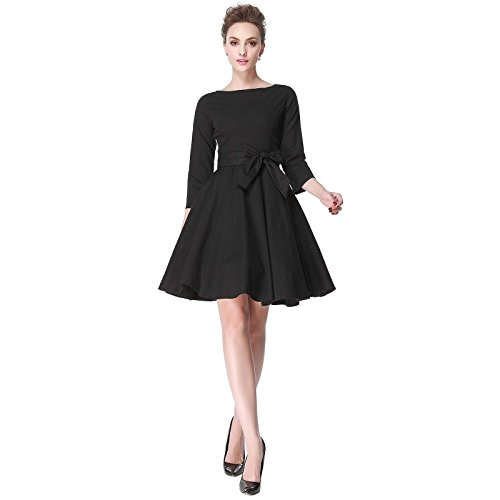 Heroecol 50s 60s Hepburn 3/4 Sleeve Style Vintage Retro Swing Rockailly Dresses Size XL Color Black