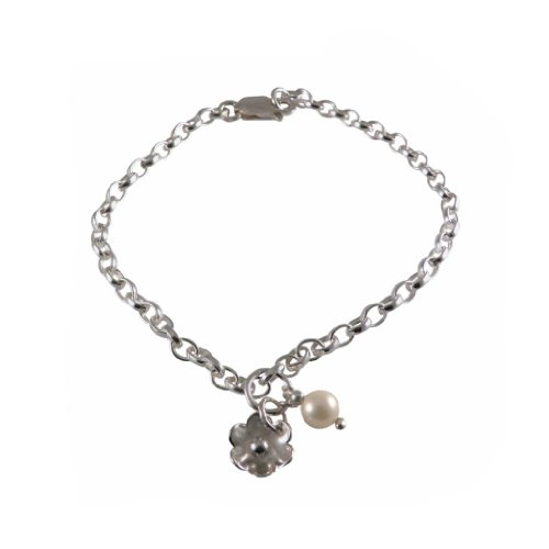 Handmade 925 Sterling Silver Charm Bracelet - Flower Pearl - FREE Delivery in UK Gift Wrapped Gifts