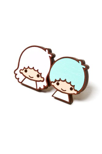 Neivz x Sanrio - women's Flat Laminate Twin Stars Ring (Blue/Pink)