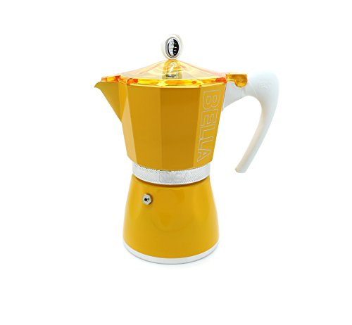 Bella-Stove-Top-Espresso-Machine-Maker-by-GAT-6-Cup-Capacity-180-Degree-Heat-Resistant-Finish--Available-in-Red-Green-and-Yellow--Clear-See-thru-Lid--Made-in-Italy
