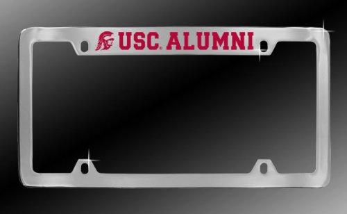 USC Chrome Metal Car License Plate Frame USC Alumni Red Lettering on ...