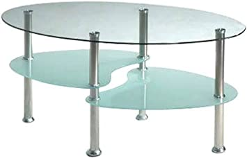 Oval Tempered Glass Shelves Coffee Table - Tables Convenience Concepts Set Living Room Office Furniture - Sale!