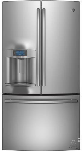 GE Profile PFE28RSHSS 36″ French Door Refrigerator with 27.7 cu. ft. Capacity 5 Shelves Dual Icemaker TwinChill Evaporators Showcase LED Lighting Hands-Free AutoFill and Color LCD Screen in Stainless