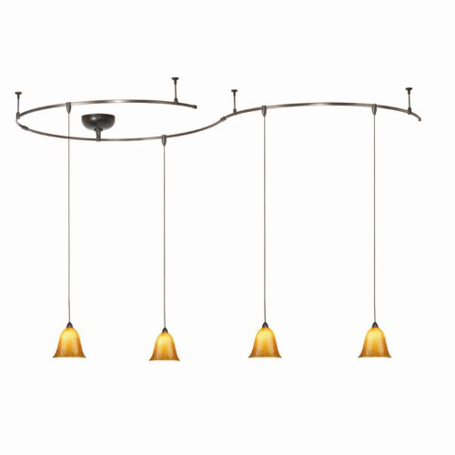 B00186DPJI WAC Lighting LM-K592-AB/BZ Solorail 4-Light Pendant Kit, Bronze with Amber Glass and Black Powder Frits