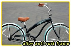 Anti-Rust Aluminum Frame, Fito Modena Alloy 1-speed Women's Dark Blue/Baby Blue Beach Cruiser Bike Bicycle