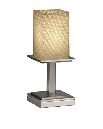 Justice Design Group Fusion Montana Table Lamp, Brushed Nickel/Alabaster Weave, 1-Light