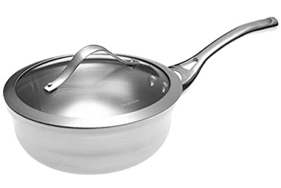 Calphalon Contemporary Stainless-Steel 2-Quart Chef's Pan with Glass Lid