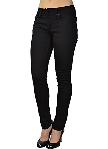LnLClothing Junior's Low Rise Skinny Solid Color Pants (11, Black)