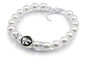 Kansas State KSTATE Wildcats Bead Jewelry White Swarovski Pearl Bracelet by Collegiate Beads