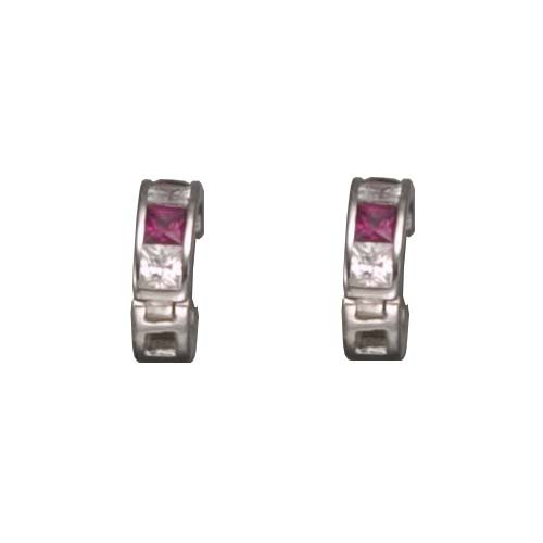 Calandra's 925 Sterling Silver Hughie Earrings Simulated Invisible Set Princess Cut Ruby & Clear CZ - Incl. ClassicDiamondHouse Free Gift Box & Cleaning Cloth