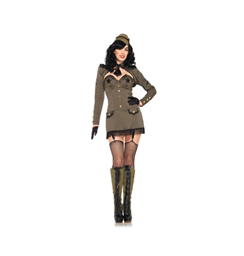Pin up Army Girl,dress,back Bow,shrug,clear Straps,tie,hat-83955