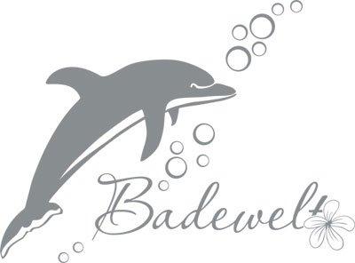 wandtattoo f r bad spr che sticker badewelt mit delfin blume und blasen 77x57cm 074 mittelgrau. Black Bedroom Furniture Sets. Home Design Ideas
