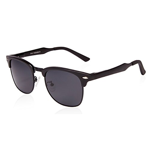 SUNGAIT Classic Half Frame Clubmaster Sunglasses with Polarized Lens (Black Frame Gray Lens) (Half Rimmed Sunglasses For Women compare prices)