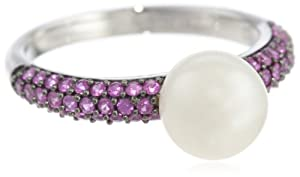 10k White Gold Pink Sapphire and Freshwater Cultured Pearl Ring, Size 8
