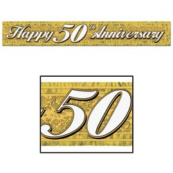 Metallic 50th Anniversary Fringe Banner (gold) Party Accessory (1 count) (1/Pkg)