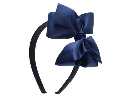 Victoria Cat Flower Girls Extra Large Hair Dress Bow Headband Accessory - Navy Blue