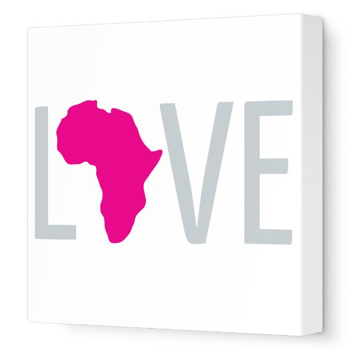 "Avalisa Stretched Canvas Nursery Wall Art, Africa Love, Fuschia, 18"" x 18"""