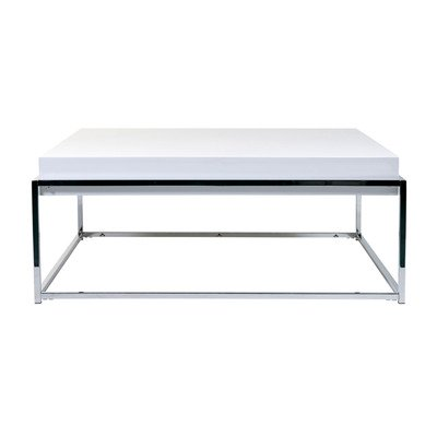Eurostyle Greta Square 35x35 Coffee Table in White Lacquer & Chrome