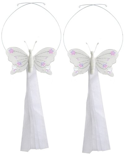 White Jewel Butterfly Curtain Tieback Pair / Set - tiebacks holder sheer tie backs, nylon nursery bedroom girls room ceiling wall decor, wedding birthday party baby bridal shower