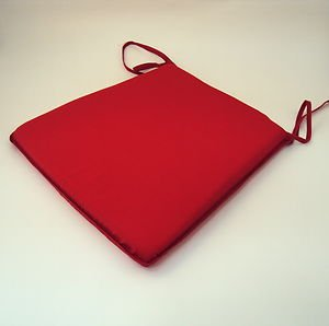 Large Plain Red Tie-On Chair Kitchen/Dining/Garden Seat Pad Cushion