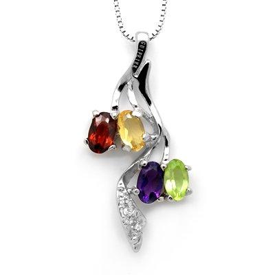 100% Genuine Amethyst Peridot Garnet Citrine 925 Silver White Gold Plating Necklace Gem Jewellery