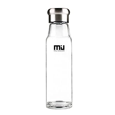 MIU COLOR® Stylish Portable Handmade Crystal Glass Water Bottle with Nylon Sleeve (18.5 Ounces, Designed in Switzerland)