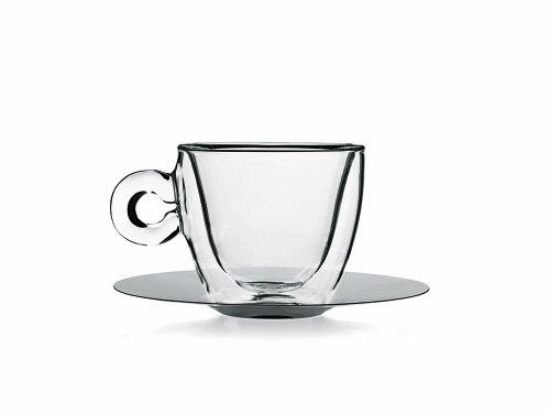Luigi Bormioli Thermic Glass Confezione Tazze da Tè o Cappuccino con Piatto Borosilicato, Vetro, Trasparente, 4 Pezzi