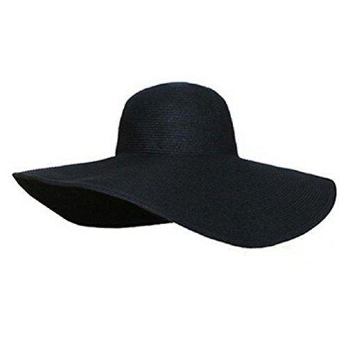 Malloom® Summer Women Foldable Wide Large Brim Floppy Beach Hat Sun Straw Hat Cap (Black)