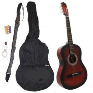 "38"" Acoustic Guitar Starter Package, Guitar, Gig Bag, Strap, Pitch Pipe & DirectlyCheap(TM) Translucent Blue Medium Guitar Pick by DirectlyCheap"
