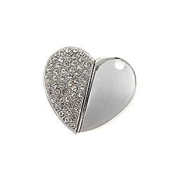 ZP 16GB Diamond Heart Pattern Metal Style USB Flash Drive