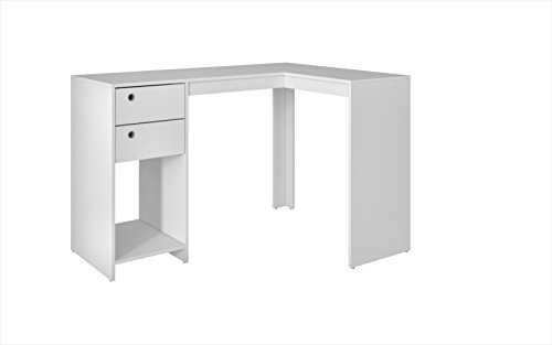 39%  Cheaper than USA price @ Amazon.ca -  Manhattan Comfort Accentuations by Modest Palermo Classic L Shaped Desk with 2 Drawers and 1 Cubby in White