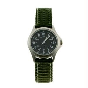 RAM Instrument RAMW1002R Field Watch, Rugged, Stainless Steel Case, Green Nylon Strap, Black Face
