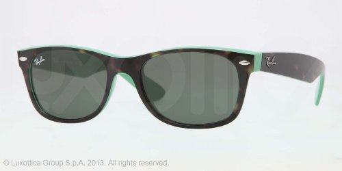 Ray-Ban New Wayfarer Sunglasses RB2132 6013-5518 - Top Havana / Green Frame, Green RB2132-6013-55