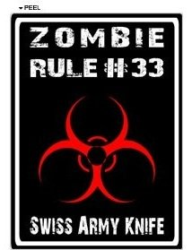 Zombie Rule 33 - Swiss Army Knife - Window Bumper Locker Sticker