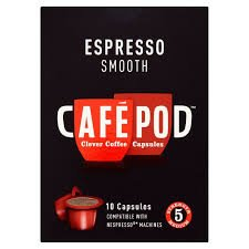 CafePod Espresso Compatible Smooth Coffee 10 Capsules (Pack of 2)