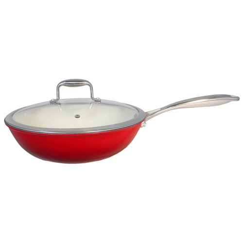 Le Chef Enameled Cast Iron Stir Fry 4 ½-Qt., Super Sale! front-519066